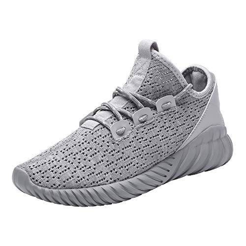 Hetohec Sport Baseball Shoes Knitted Fashion Outdoor Sneakers Lightweight Gym Athletic Shoe for Men Trail Workout(1266Gray46)