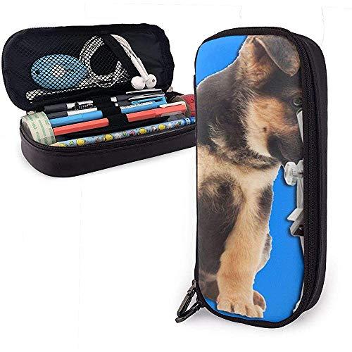 Federmäppchen Hund und Mikroskop PU Ledertasche Aufbewahrungstaschen Tragbare Bleistiftbeutel Reißverschluss Geldbörsen
