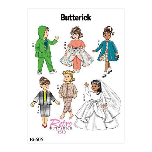 Butterick Patterns Retro Fashion 18' Doll Clothes Dress, Overskirt, Skirt,...