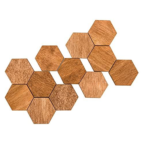 Calamite da frigorifero, per ufficio, esagonali, in legno naturale ed ecologico, colore marrone
