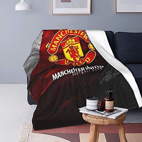 KINGAM Manchester United - Manta de forro polar sherpa, suave y mullida, manta de doble cara, manta de viaje y camping, para sofá cama
