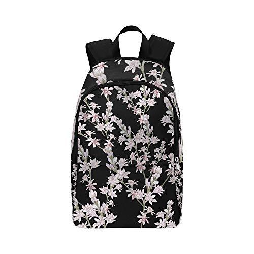 Tuberosa Branches Perfumery Medicines Seamless Pattern Illustrazione stock Casual Daypack Bag Travel College School Backpack per uomini e donne