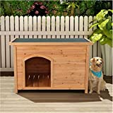 Outdoor Wooden Dog House | Weather-Resistant Wood Pet House Log Cabin, Dog...