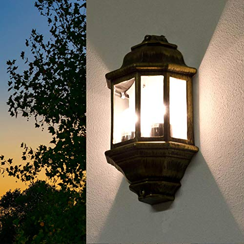 *Große Wandleuchte in antikgold inkl. 2x 12W E27 LED Wandlampe aus Aluminium Glas für Garten Terrasse Weg Lampen Leuchte außen*
