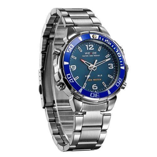 Lepeuxi WEIDE WH843 Reloj electrónico Digital de Cuarzo Dual Time Calendario Mese 3ATM Temporizador Impermeable Hombre de Negocios Moda Casual Deportes al Aire Libre Reloj de Pulsera para Hombre