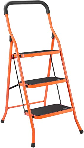 2021 LUISLADDERS 3 Step Ladder Foding Step Stool Portable Lightweight Space Saving new arrival Ladders with Sturdy Steel and Anti-Slip Wide Pedal Multi-Use for Household, sale Office, Market outlet sale