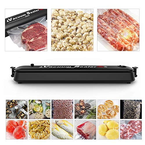 CkeyiN Vacuum Sealer Machine, Automatic Food Sealer for Keeping Dry Food, One-Touch Food Saver Suitable for Camping and Home Use with 15pcs Vacuum Sealer Bags(20×25cm) for Food Preservation Storage Saver, Great Thanksgiving Day Gift for Kitchen