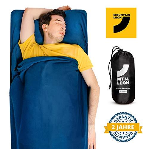 2 in 1 Hüttenschlafsack und Reisedecke - Reiseschlafsack aus Baumwolle - innenschlafsack - inlayschlafsack - Inlett / Mountain Leon