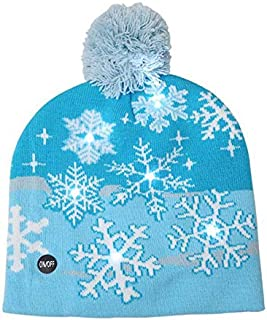 SODIAL Adult Kids Christmas LED Light Knitted Hat Knit Cap Party Colorful Light Adult Kids Warm Hat Snowflake