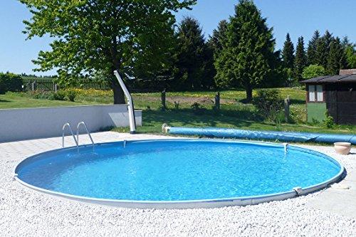 POWERHAUS24 MTH Schwimmbecken, rund, 4,00m x 1,20m 0,6mm Stahlwand, Folie mit Keilbiese