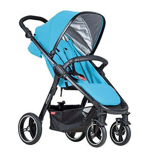 phil&teds Smart City Stroller, Cyan – Huge Seat - Easy and Compact Standing Foot Fold – Newborn Ready – Huge Canopy – Puncture Proof Tires – Hand Operated Brake – Travel System Ready