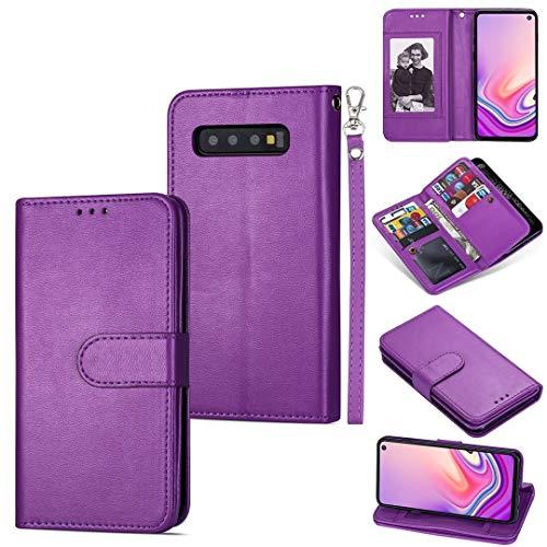 MKOKO Durable para Samsung Galaxy S10 Tarjeta Ultra-Thin 9 Funda de Cuero Horizontal, con Ranuras y Soporte para Tarjeta y cordón (Color : Purple)