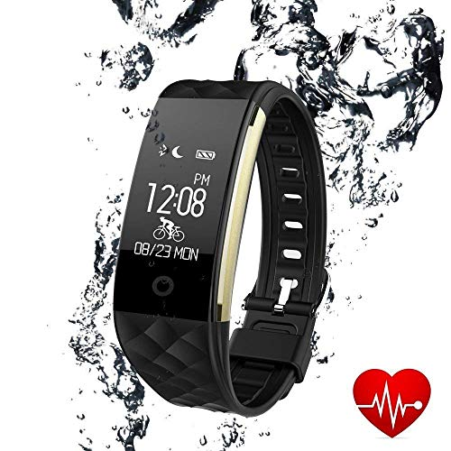 LUXSURE Draadloze Fitness Tracker Waterdichte Bluetooth Tracker Armband te Monitor Hartslag & Stappenteller Compatibel met iPhone Samsung IOS & Android