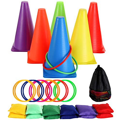 Faswin 37 Piece 3 in 1 Carnival Outdoor Games Combo Set, Plastic Cones, Cornhole Bean Bags, Ring Toss Game, Kids Birthday Party Outdoor Games Supplies, Obstacle Course Set for Kids