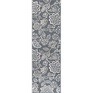 Universal Rugs Emmalyn Transitional Floral Gray Runner Rug, 2' x 10'