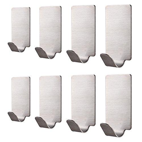 Adhesivos Pared, GWCLEO 8pcs Ganchos Adhesivos de acero inoxidable y ganchos de traje para los armarios de baño de la cocina, impermeable y resistente al moho.
