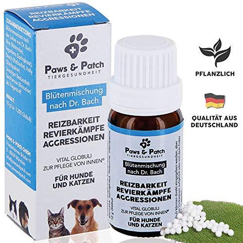 Paws & Patch Bachblüten für Hunde & Katzen REIZBARKEIT REVIERKÄMPFE Aggressionen, bei dominanten Tieren, aggressivem oder gereiztem Verhalten