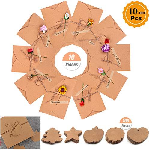Retro Kraftpapier Blanco Enveloppen, Kraft Papier Wenskaart Uitnodigingskaart Cadeau-envelop Retro kraftpapier Kaart met Gedroogde Bloemen voor Kerstmis Verjaardag Valentijnsdag Moederdag