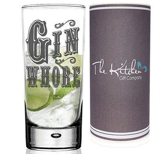 Juego de vasos de cristal para Gin & Tonic–un divertido regalo para cualquier amante del gintónic, vidrio, transparente, Gin and Tonic Hi Ball G&T Glass