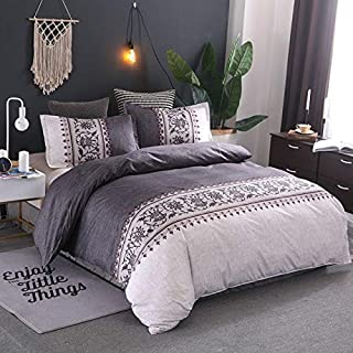 JZCXKJ 12 Colors Bedding Set Nordic Modern Style Marble Pattern Printed Duvet Cover SetDouble Full Queen King Size Bed Linen 8 Size 200x230cm (3Pcs) Gray