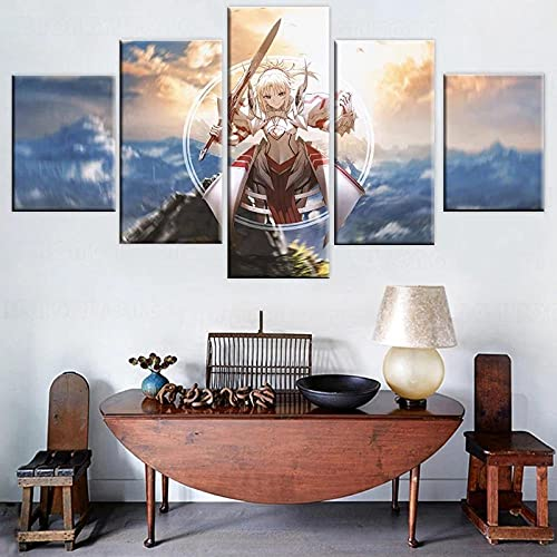 HAOQIPA 5 Piezas Cuadros Lienzo Cuadro sobre Lienzo con Bastidor Noche De Estancia De Destino Impresión En Lienzo Lienzo Decorativo para Tú Salón O Dormitorio Poster(150x80CM)