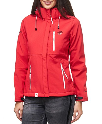 GEOGRAPHICAL NORWAY Damen Softshell Jacke mit Kapuze Outdoor Platinum Turbo-Dry rot Grösse XXL