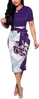 Women's Bodycon Dress Midi Work Casual Floral Prints...