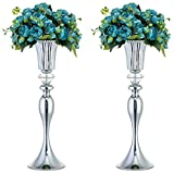 Nuptio 2 Pcs Silver Wedding Centerpieces Flower Stand, 21.65'/ 55cm Tall Flower Vases for Dining Room Table, Vases for Centerpieces for Party Birthday Anniversary Ceremony Event Reception Home Decor