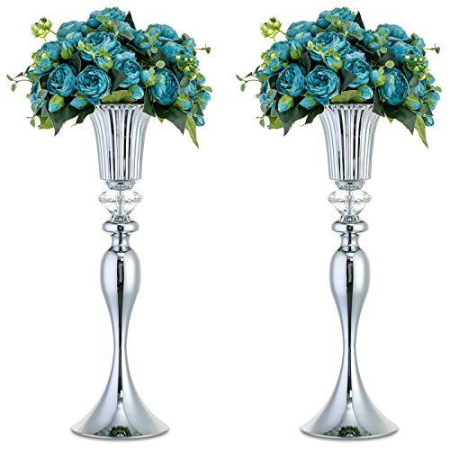 Nuptio 2 Stück Silber Hochzeit Mittelstücke Blumenständer, 55cm Hohe Blumenvasen für Esstisch, Vasen für Mittelstücke für Party Geburtstag Jubiläum Zeremonie Veranstaltung Empfang Wohnkultur
