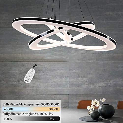 ZMH Moderne LED Pendelleuchte esstisch 90W Led 3-Ring led dimmbar Fernbedienung Hängeleuchte Wohnzimmer Deckenleuchte Schlafzimmer Höhenverstehbar Hängelampe Kronleuchter