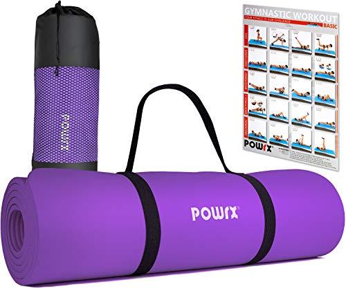 POWRX Tappetino Fitness 183 x 60 x 1 cm - Tappeto Palestra Ideale per Ginnastica, Yoga e Pilates - Ecocompatibile con Tracolla e Sacca Trasporto - Antiscivolo + PDF Workout (Viola)