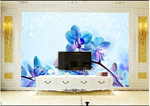 Carta Da Parati 3D farfalla blu fiori di orchidea Salotto Camera da letto Ufficio Corridoio Decorazione Murali Poster Gigante Design Carta per pareti natura-250cm×175cm