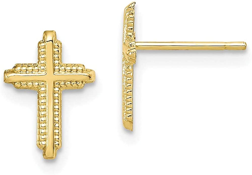 10k Yellow Gold Cross Religious Post Stud Earrings Ball Button Fine Jewelry For Women Gifts For Her