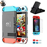 TOSTAR Case for Nintendo Switch 4 in 1 Bundle Accessories with Dockable Soft TPU Protective Case Cover, Ultra Thin Screen Protector(2 Packs),Adjustable Collapsible Stand, Joystick Caps(6 Packs)