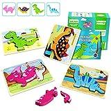 IMMEK Dinosaurios Puzzle de Madera Juguetes Bebes para Niños de 1 2 3 4 5 Años Montessori...