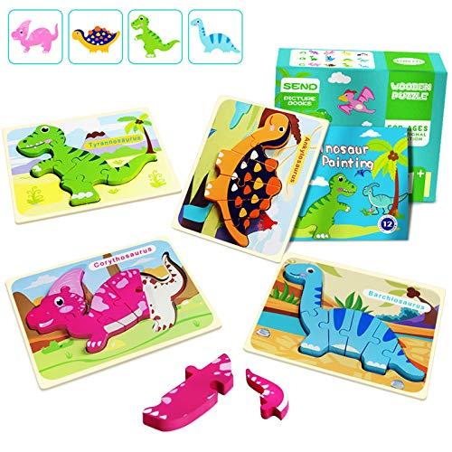 Dinosaurios Puzzle de Madera Juguetes Bebes para Niños de 1 2 3 4 5 Años Montessori Educativos Regalos 3D Animales Patrón Puzles 4 Piezas con Libro Pintura de 12 Páginas, Multicolor