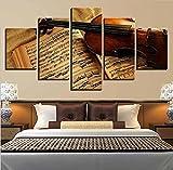 QWRTU Cuadro sobre Lienzo - 5 Piezas XXL- Impresión En Lienzo - Instrumentos Musicales Cuadro De Pintura Póster De Arte Moderno Oficina Sala De Estar O Dormitorio Decoración 150X80CM
