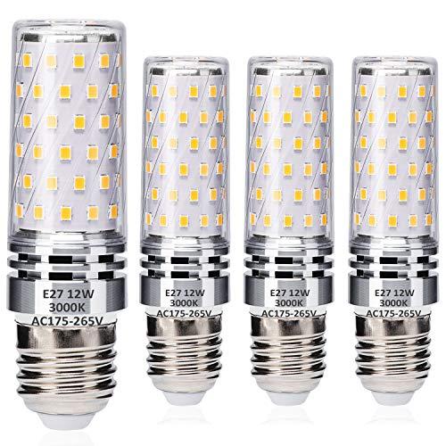 E27 LED Mais Bulbi 12W Equivalente a 100W alogena Lampadine, bianco caldo 3000K, Edison Vite GUIDATO Luce Lampadine, senza sfarfallio, senza dimmer, 1400LM, AC 230V, confezione da 4