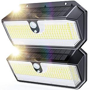 Luz Solar Exterior, HOTIME 282 LED Luces Solares con Sensor de Movimiento, 3 Modos 270° Iluminación 2600 Lumens Foco Solar Exterior, Impermeable Inalámbricas Lámpara Solar Jardín Para, 2 Paquete