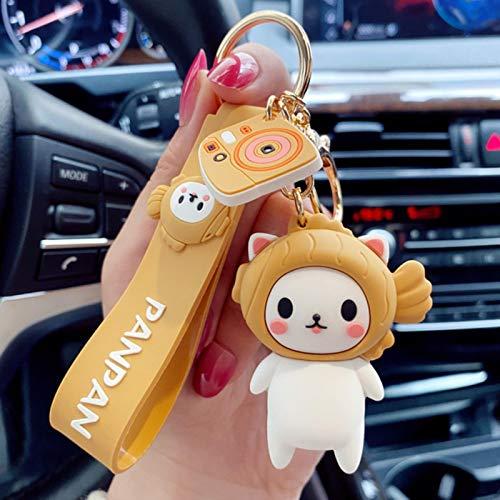 Jiechu Lindo Cartoon Panda Gato y Sushi Hombres Mujeres Bolso Coche Llavero Accesorios Auto Llavero Llavero Pantalones joyería niños