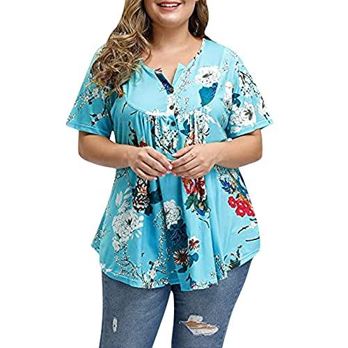 LOPILY Gedruckte Wickelbluse Damen Große Größen Elegante Sexy Oberteile mit Blumen Muster Lässige Tunika Kurzarm mit Gurtel Shirts 50 48 46 Boho Hippie Kimono Tunika Freizeit