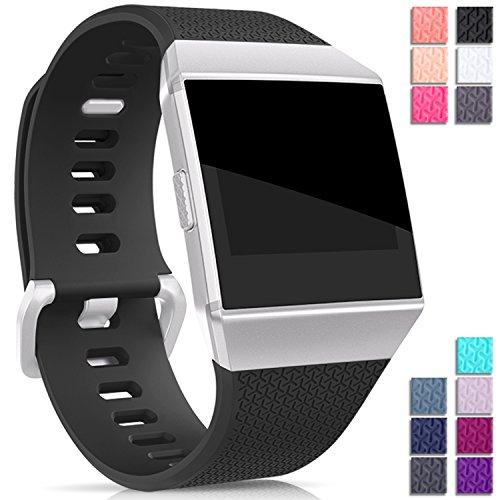 Mornex Für Fitbit Ionic TPU Armband, Klassische Armbänder, Unisex sportliches Ersatzband zur Fitness Small,Schwarz