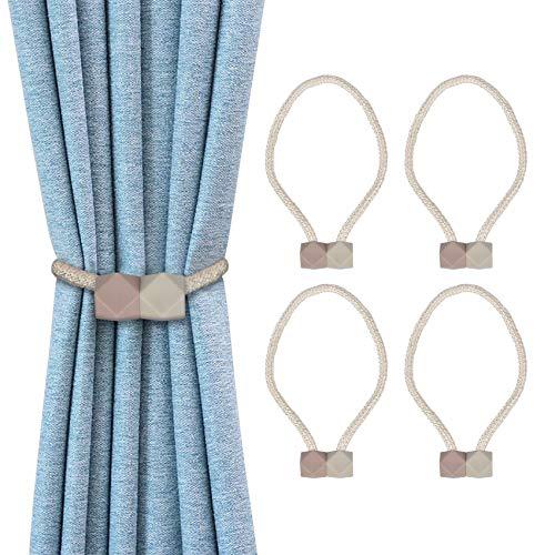 besbomig 4 Piezas Hebilla de Magnéticas para Cortinas Tiebacks Alzapaños de Cuerda Clip de Cortina para Oficina Dormitorio en Casa Decoración para Cortina de Ventana(Beige)