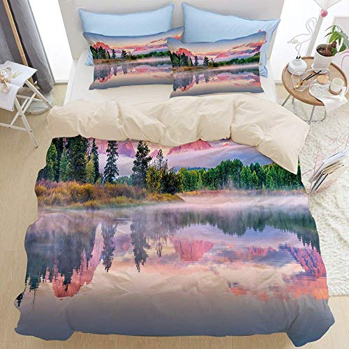 1203 beige Duvet Cover Set,Colorful Sunrise on Calm Water of Snake River with Sweet Tone Peaks and Clouds,Microfibre Duvet Cover Set 230x220cm with 2 Pillowcase 50x80cm