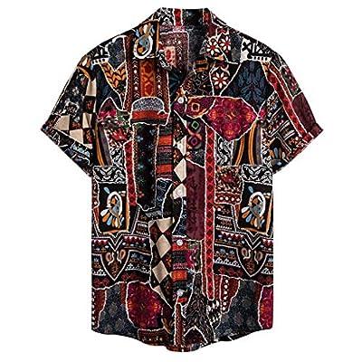 YKARITIANNA Mens Ethnic Short Sleeve Casual Cotton Linen Printing Hawaiian Shirt Blouse