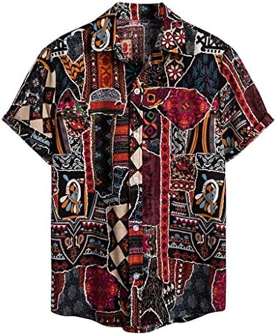YKARITIANNA Mens Ethnic Short Sleeve Casual Cotton Linen Printing Hawaiian Shirt Blouse product image