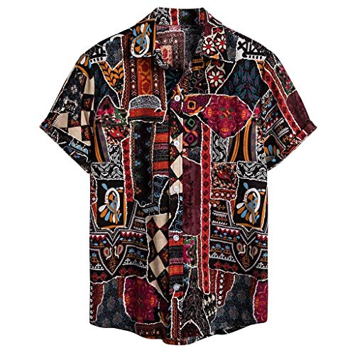 Hawaii-Shirt für Herren, reguläre Passform, Vintage Leinenhemd Kurzarm Aloha Freizeit Hemd Button Down Graphic Hemden Shirts
