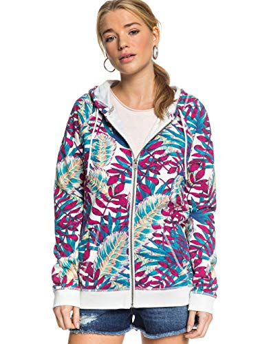 Roxy Going Right - Sudadera con Capucha Y Cremallera para Mujer Sudadera con Capucha Y Cremallera, Mujer, Snow White Paradise, XL
