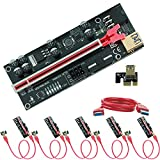 Deuiviok 6 Pack PCI-E Riser 1x to 16x Graphics Extender, Suitable for Bitcoin GPU Mining Power Riser Adapter Card, 4 Solid capacitors, 60 cm USB 3.0 Cable, 2X 6PIN, Molex 3 Power Supply Option