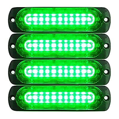 Primelux Strobe Lights for Trucks Green 4.4-Inch Emergency Lights for Vehicles and Cars 10 LED Ultra Slim Strobe LED Lighthead External Emergency Grille Surface Mounting Lights (4-Pack)